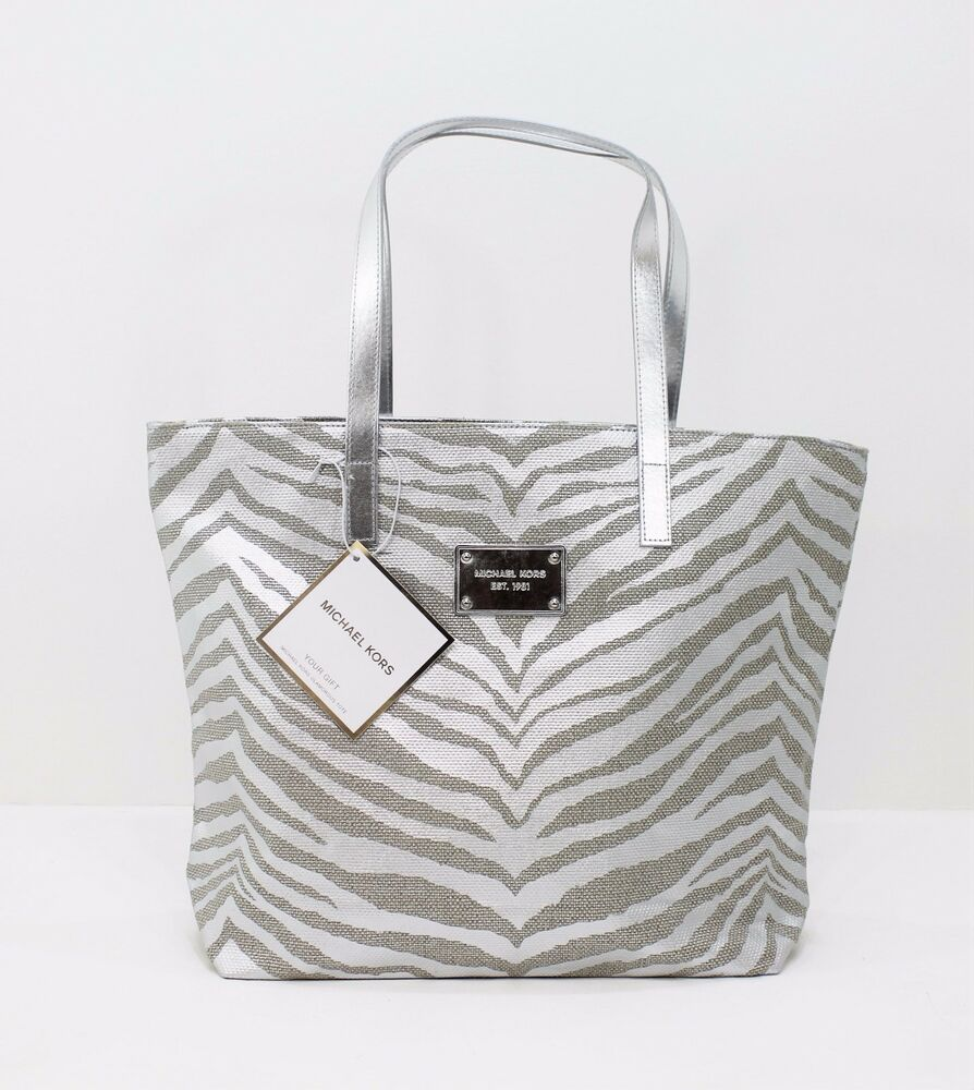 michael kors silver gold animal print ladies tote. Black Bedroom Furniture Sets. Home Design Ideas