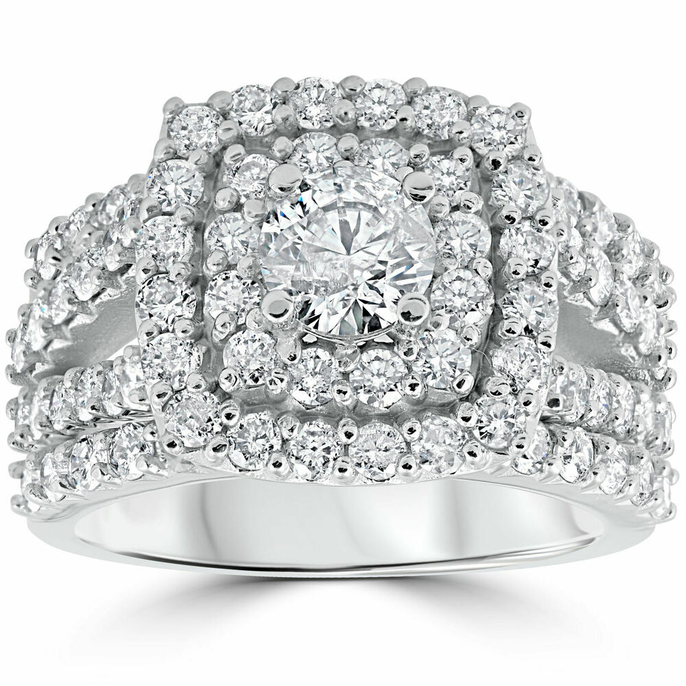 3 ct diamond engagement wedding double cushion halo trio With 3 ct wedding ring set