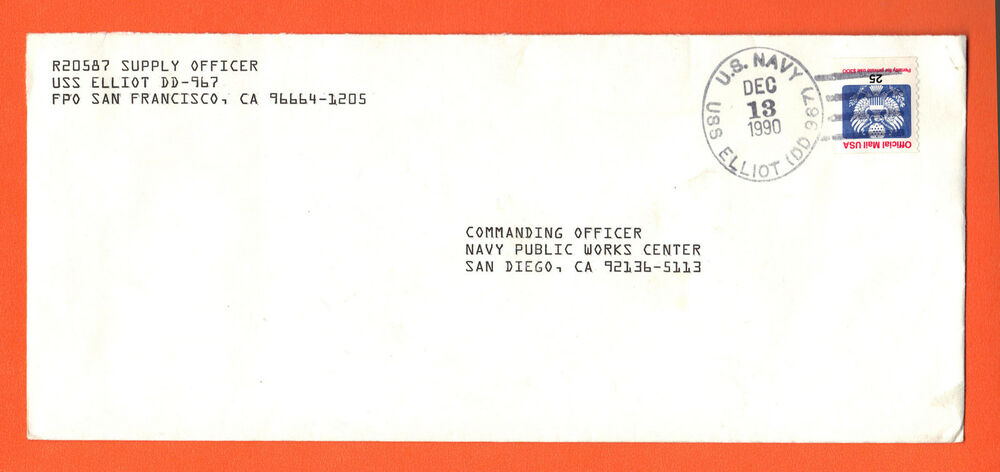 US # O140 25c Official Mail Commanding Supply Officer USS