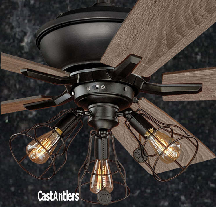 rustic ceiling fans with lights 52 inch edison rustic industrial lodge cage ceiling fan 29317