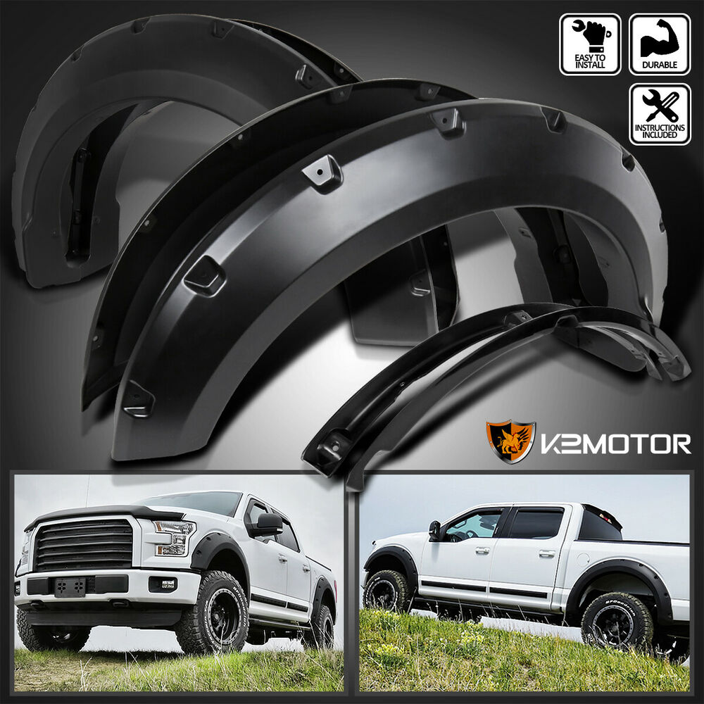 2001 Dodge Ram 1500 >> 2015-2017 Ford F150 Pickup Pocket Rivet Style Black Wheel Fender Flares Cover | eBay