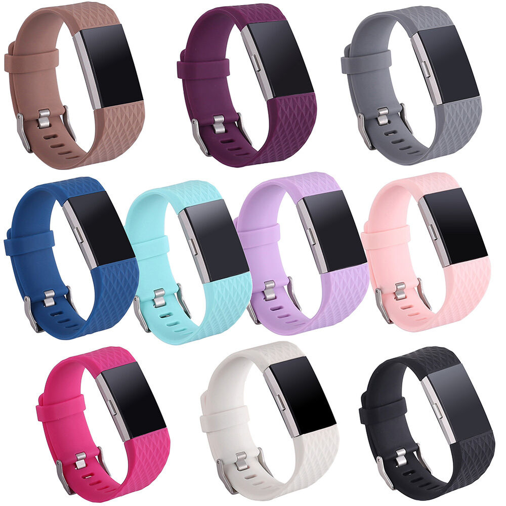 replacement silicone rubber band strap wristband bracelet for fitbit charge 2 ebay. Black Bedroom Furniture Sets. Home Design Ideas