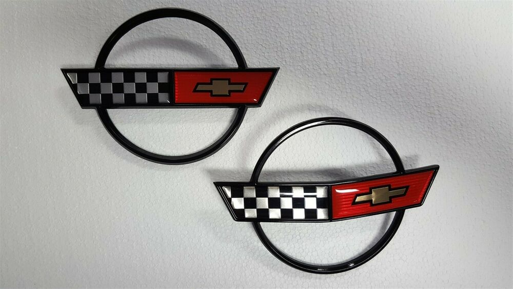 84 90 Corvette C4 New Emblem Pair Gas Lid And Front Hood