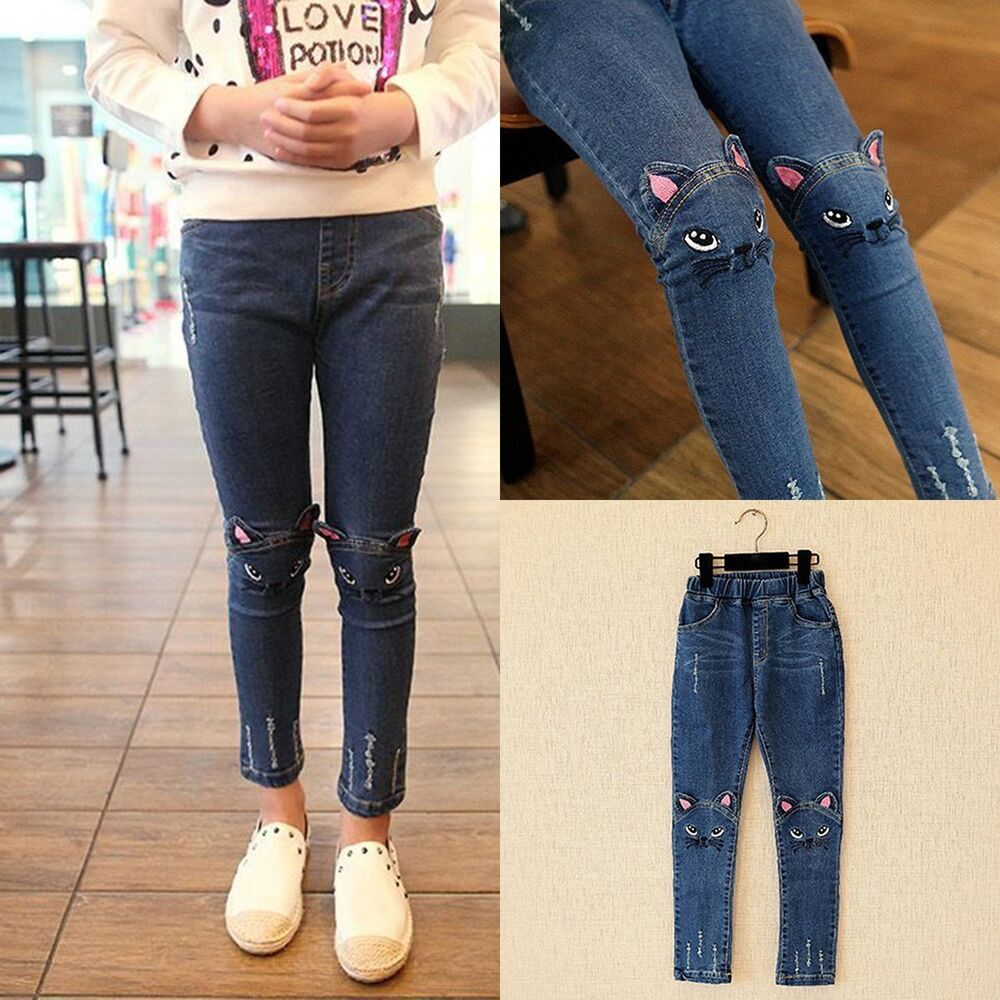 Cute Cat Print Kids Girls Baby Denim Skinny Pants Toddler Stretch Jeans Trousers | eBay