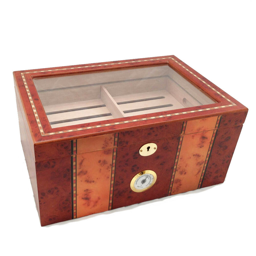 CLEAR TOP 150 ct LUXURY BURLWOOD CIGAR HUMIDOR - BRAND NEW | eBay