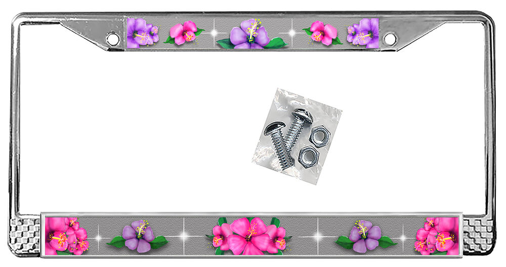 Hot Pink Purple Hibiscus On Silver License Plate Frame