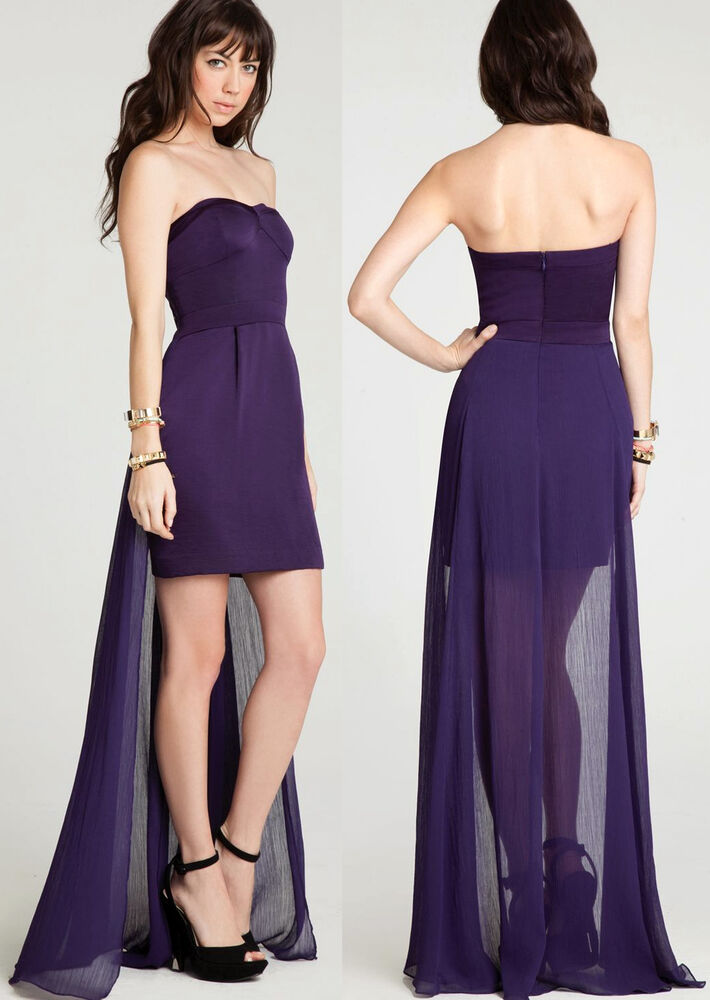 BCBGeneration Strapless Skirt Tail High Low Amethyst Cocktail Dress ...