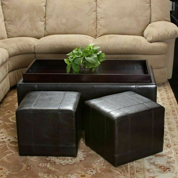 Ottoman Coffee Table With Sliding Wood Top: 3pcs Brown Leather Storage Ottoman Tray Top Coffee Table