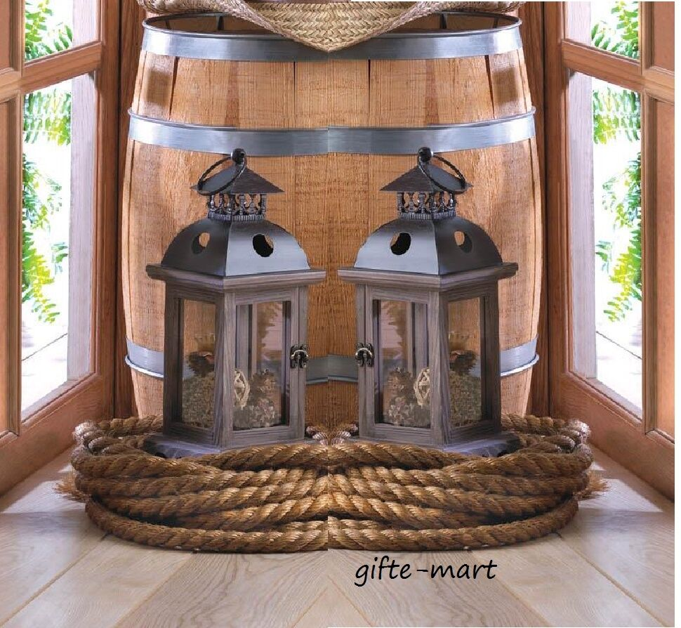 Rustic brown wood metal quot candle holder lantern