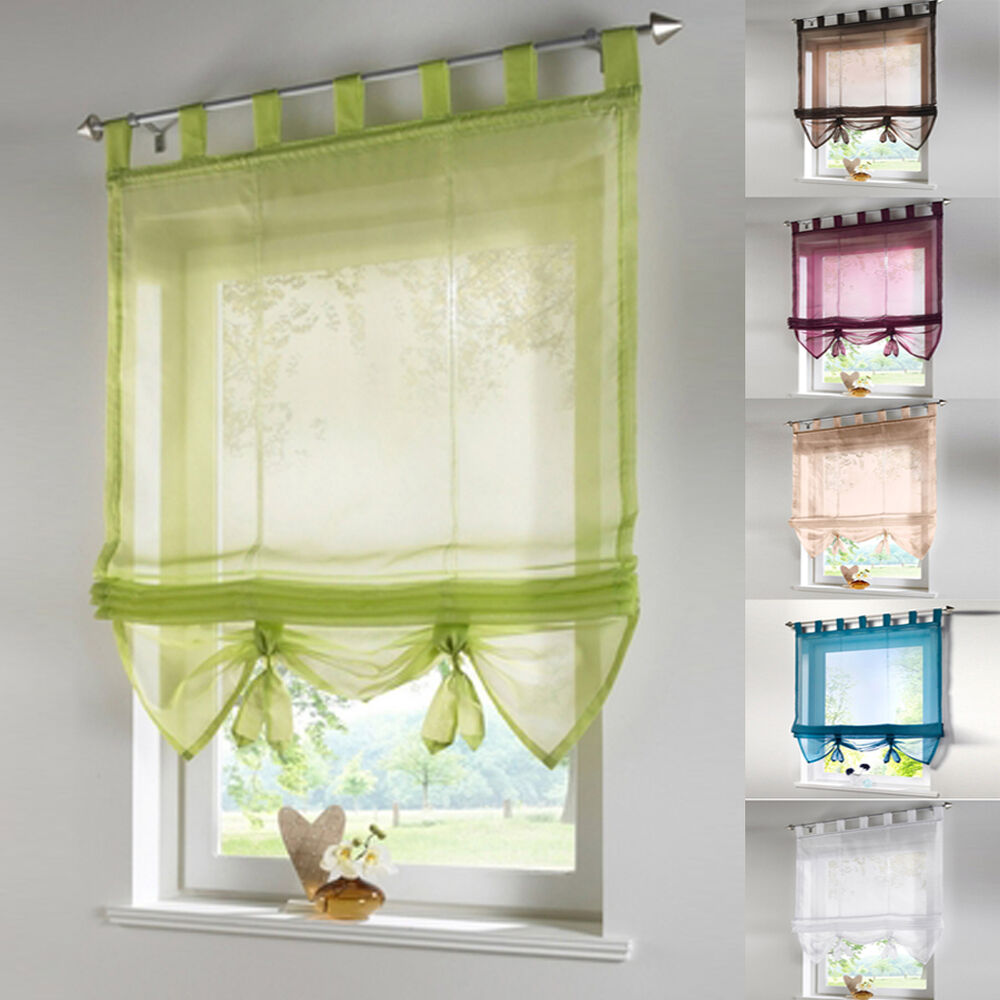 1PC Tab Top Kitchen Balcony Study Voile Roman Blinds