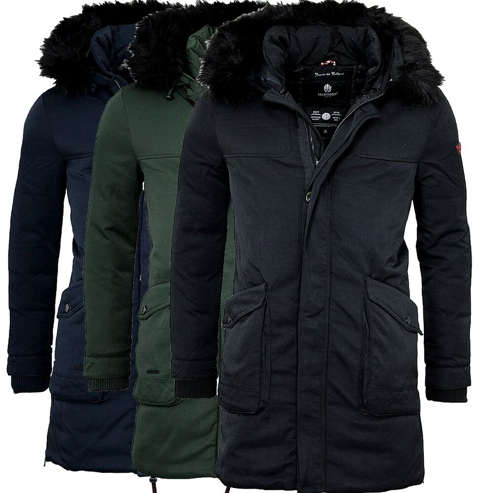 marikoo herren sehr warme winter jacke winter parka winter mantel lange jacke ebay. Black Bedroom Furniture Sets. Home Design Ideas