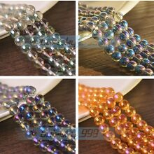 NEW Electroplating Crystal Glass Round Loose Spacer Beads 4mm 6mm 8mm 10mm Bulk
