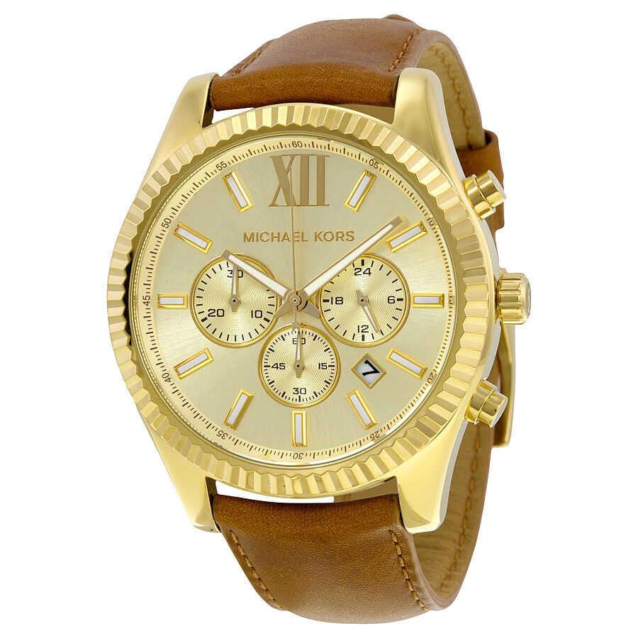 michael kors gold chronograph leather mens