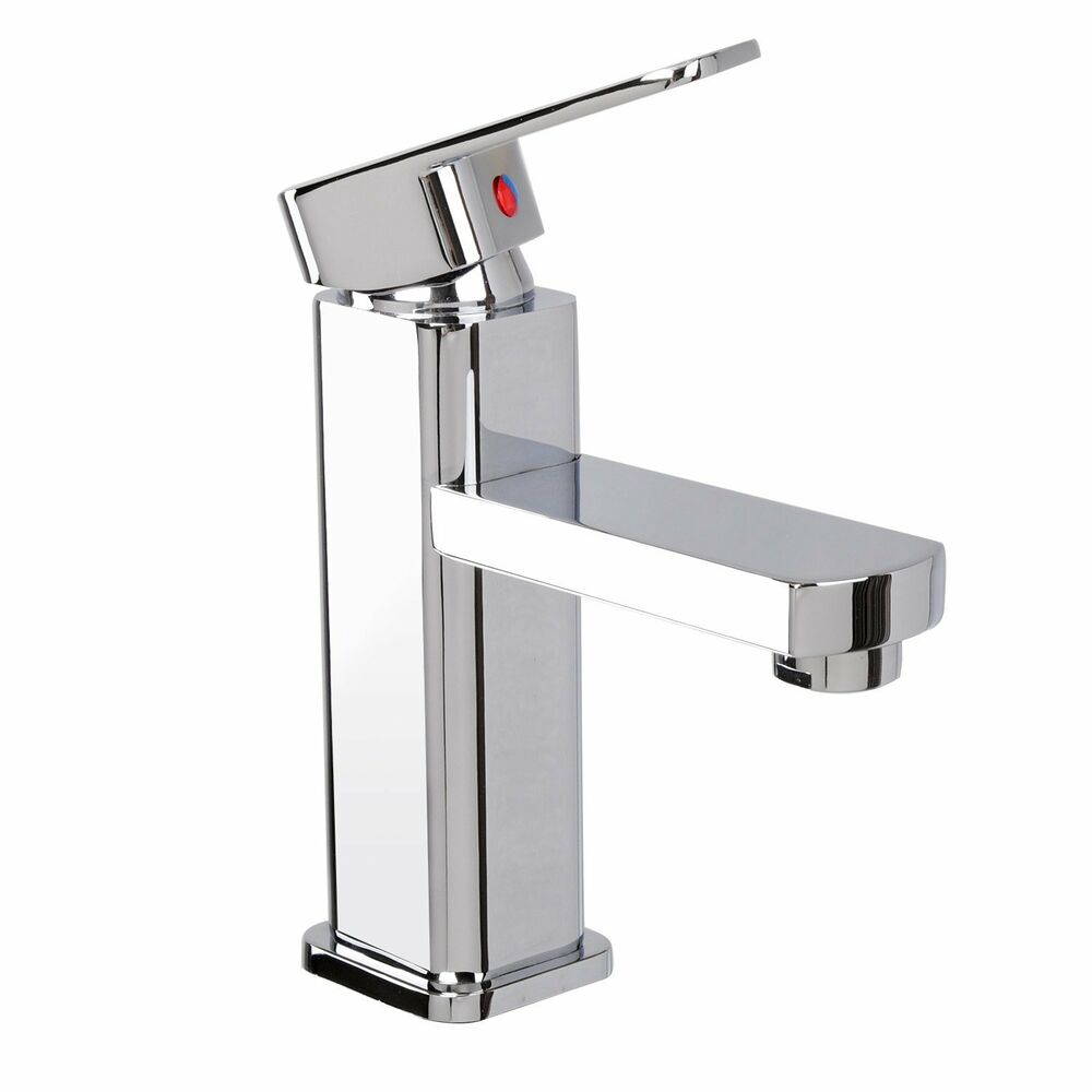 Square bathroom sink faucet basin mixer tap chrome brass for Plumbing bathroom sink