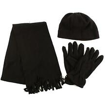 Winter Men's 3pc Fleece Set Beanie Cap Hat Gloves Fringe Scarf Gift Set