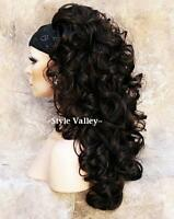 Dark Brown 3/4 Wig cap Long Curly Layered Fall Hair Piece layered hairpiece #4