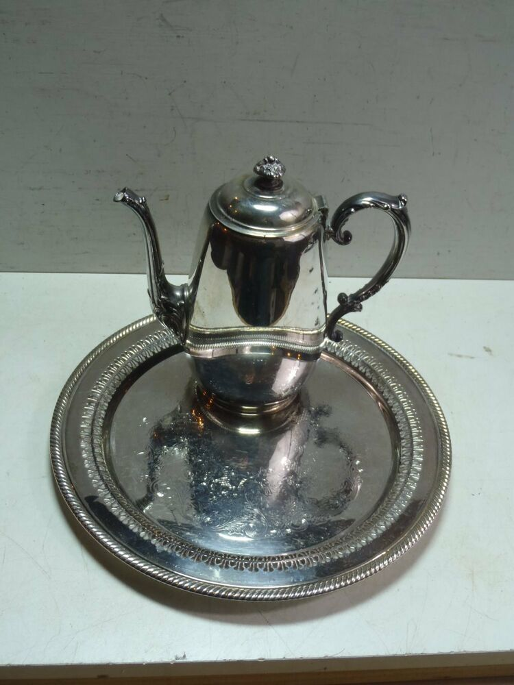 Silver Tray Coffee Table Decorating Ideas: Vintage William Rogers Silverplate Teapot Coffee Pot