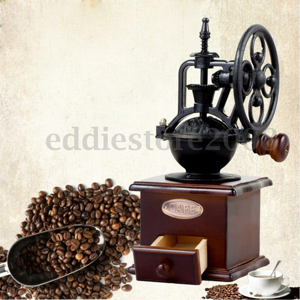 Coffee Maker With Coffee Bean Grinder : Vintage Grinder Manual Coffee Bean Grinding Retro Machine Hand Wooden Burr Mill eBay