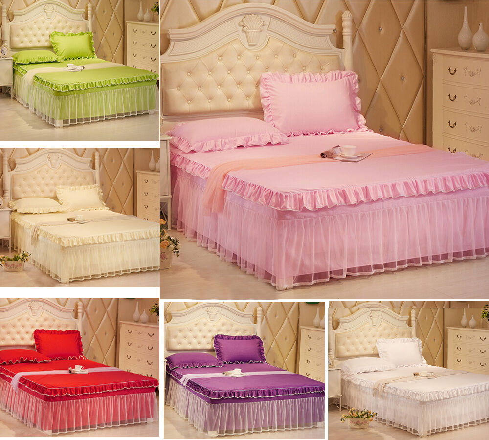 lace bedding fitted sheet bed skirt valance and. Black Bedroom Furniture Sets. Home Design Ideas