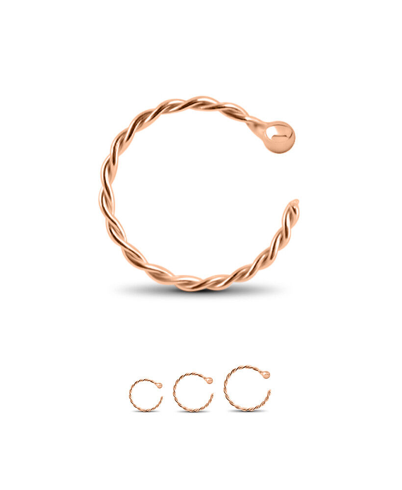 14k Solid Rose Gold Open Nose Ring Hoop Twisted 1 4 Quot 9 32