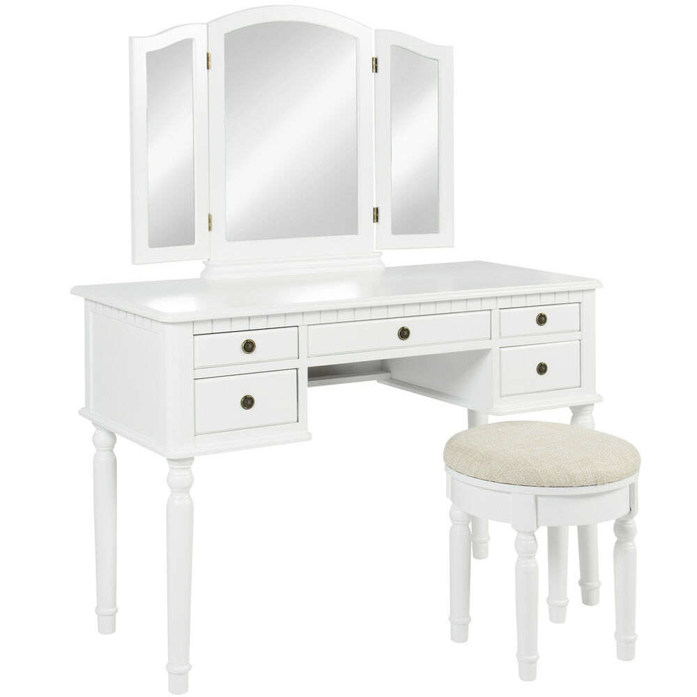 Best choice products tri mirror vanity set makeup table for White makeup desk with mirror
