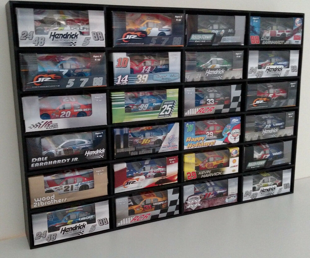 1:64 Diecast Car Wall Display Case Holds 24 Cars Lionel NASCAR, Hot Wheels  + | EBay