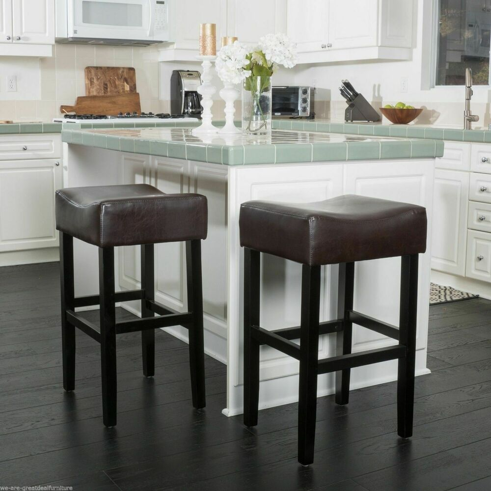 Set Of 2 Contemporary Brown Leather Backless Bar Stools Ebay