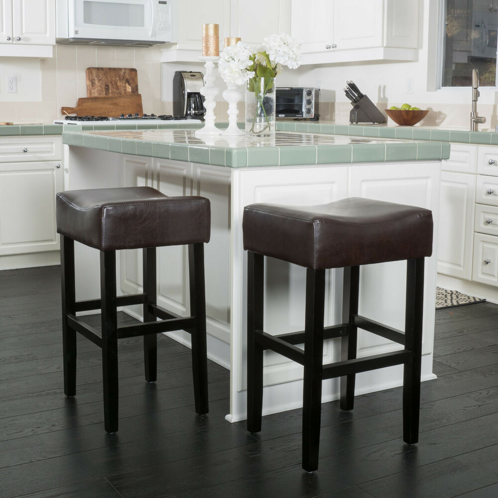 Adler 30 Inch Brown Leather Backless Bar Stool Set Of 2