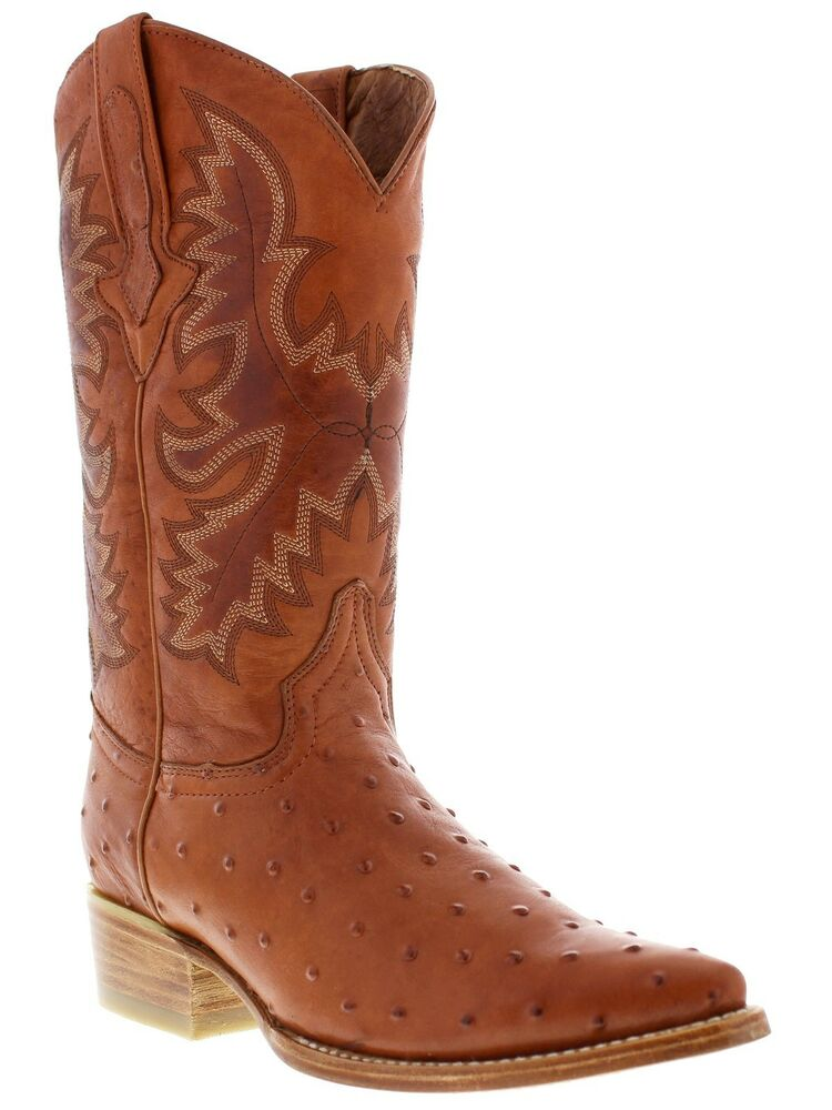 mens cognac brown ostrich exotic western leather cowboy ...