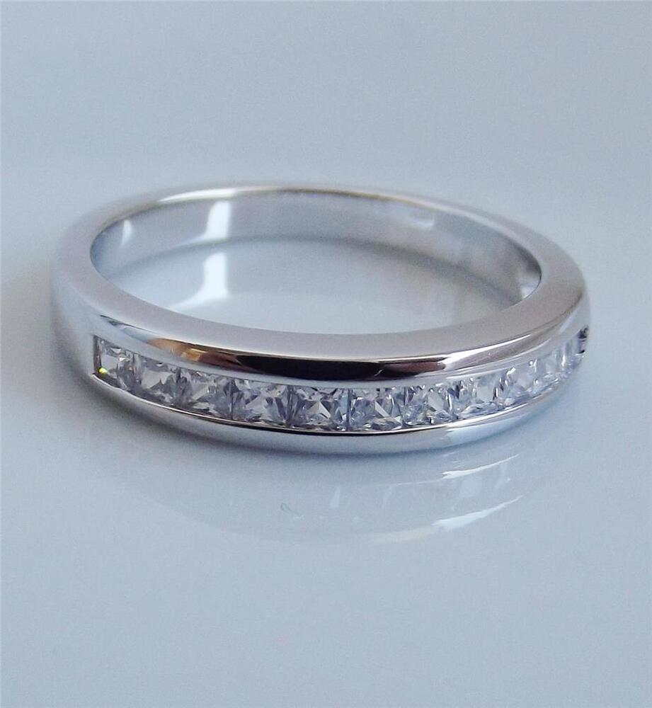 epiphany platinum clad sterl silver diamonique band ring