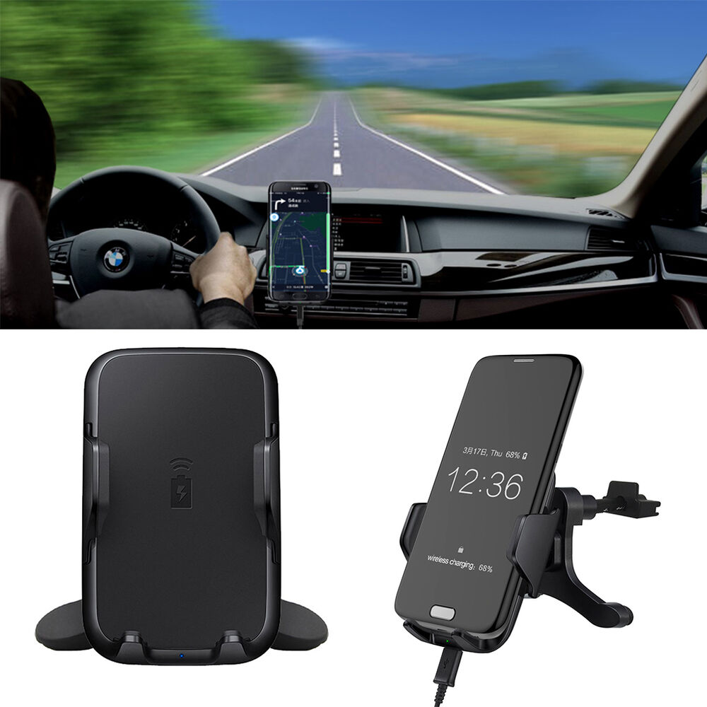 Qi Fast Wireless Car Charger Charging Holder Air Vent