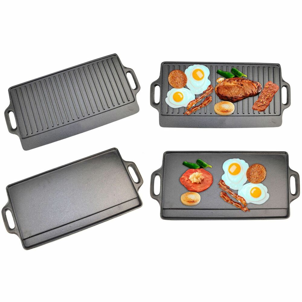 non stick cast iron reversible griddle plate grill pan indoor bbq hob cooking ebay. Black Bedroom Furniture Sets. Home Design Ideas