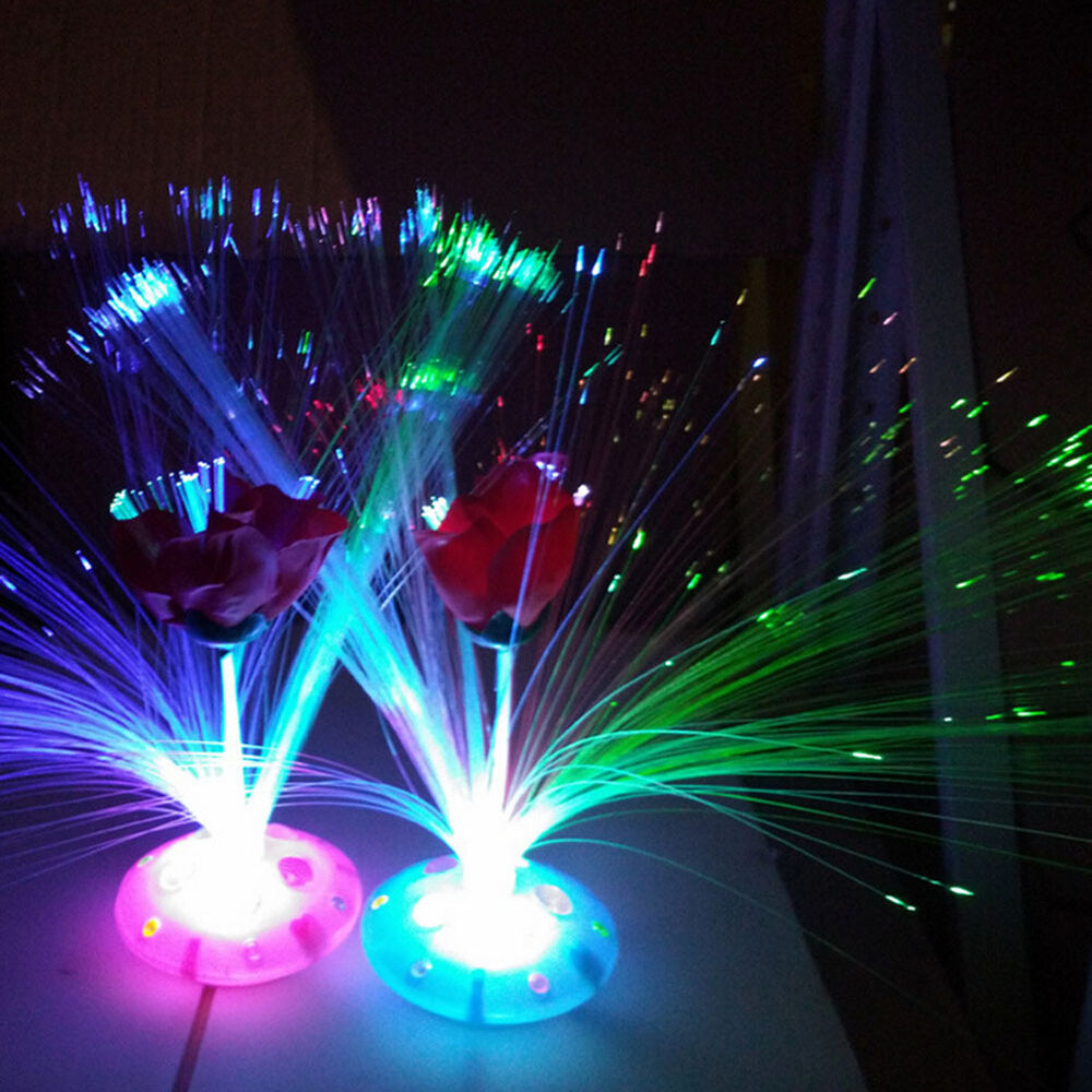 Rose Colorful Changing Led Fiber Optic Night Light Lamp