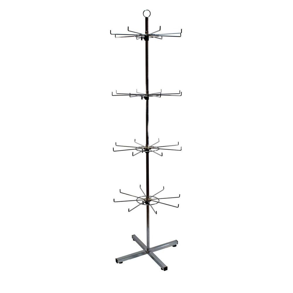 Exhibition Stand Hooks : Hook rotating tiered floor stand in chrome j