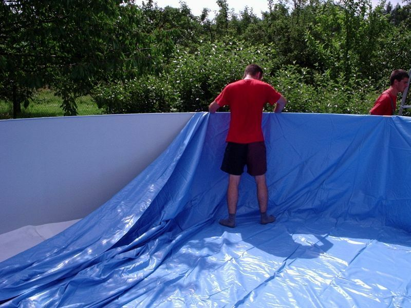 Innenh lle poolfolie 4 60 x 0 90 m blau 460 90 schwimmbad for Poolfolie 460 x 90