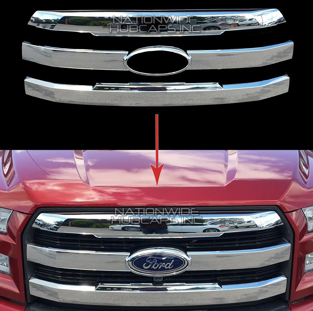 2015 16 17 Ford F150 Chrome Snap On Grille Overlay Front