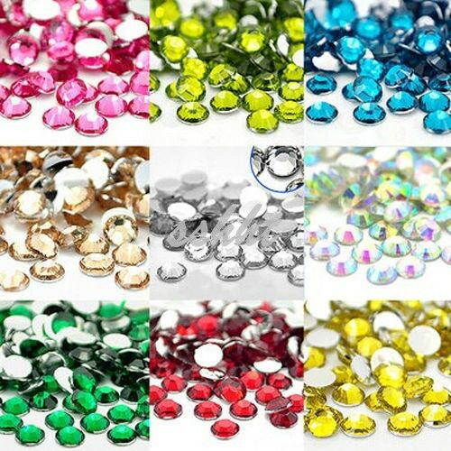 2000 crystal flat back rhinestones gems diamante bead nail for Plastic gems for crafts