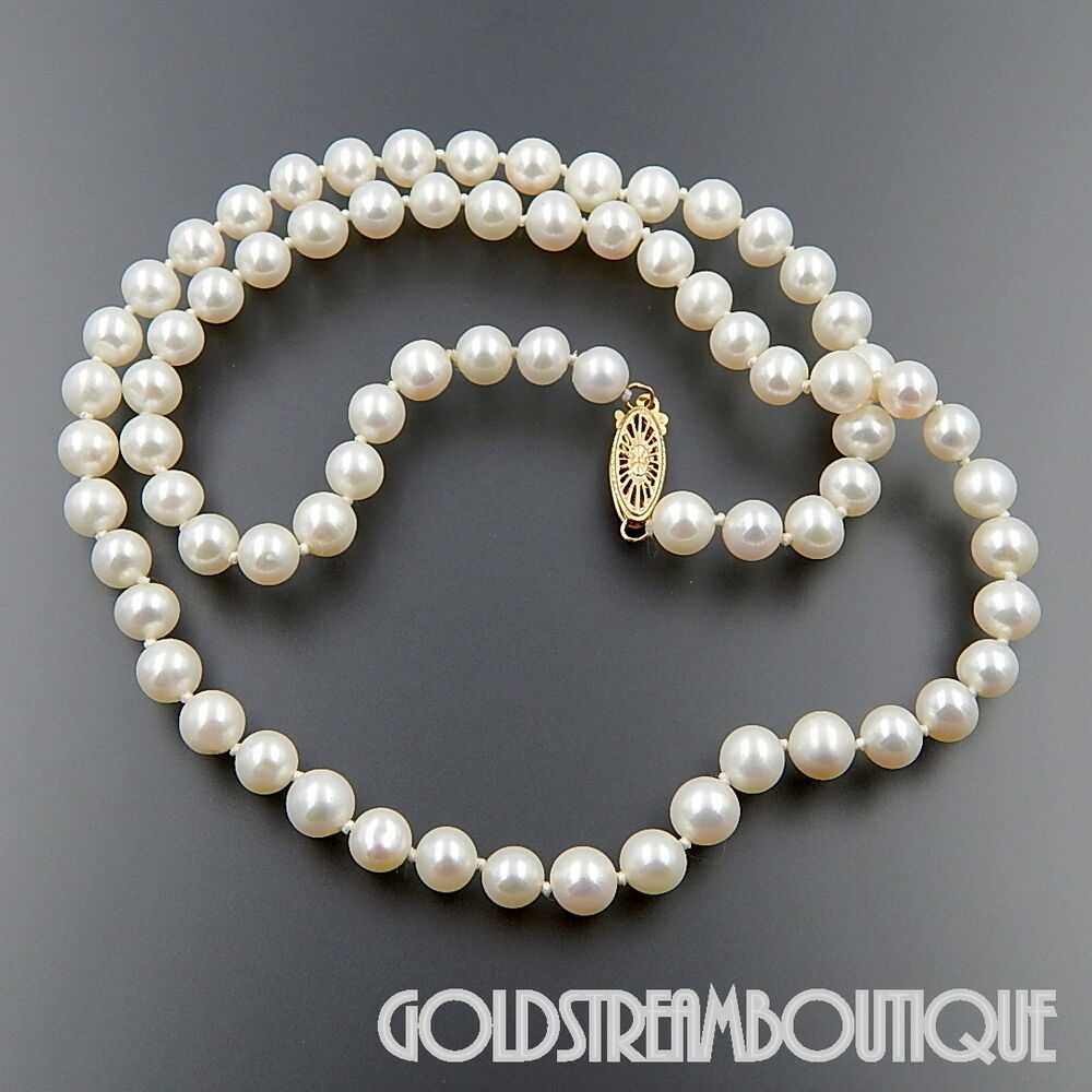 Pearl Necklace Clasps: JAPANESE AKOYA WHITE CULTURED PEARL 6-6.5 Mm NECKLACE WITH