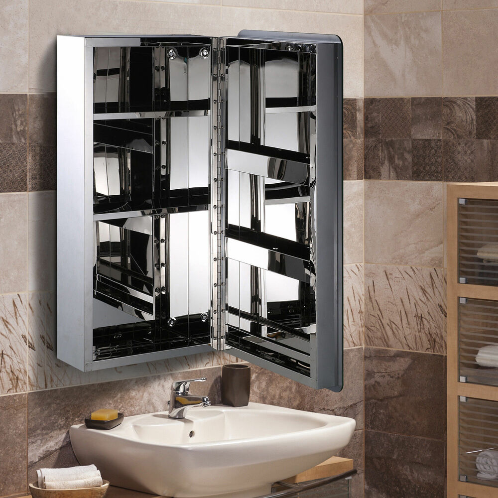 Homcom bathroom cabinet mirror front wall stainless steel storage silver 63lcm ebay for Bathroom mirror cupboard