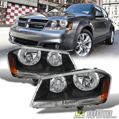 Black 2008-2014 Dodge Avenger Headlights Headlamps Replacement 08-14 Left+Right