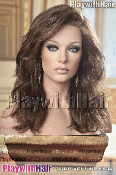 Flowing Tousled Waves Wig Lace Front Brown Blonde Mix Ebay