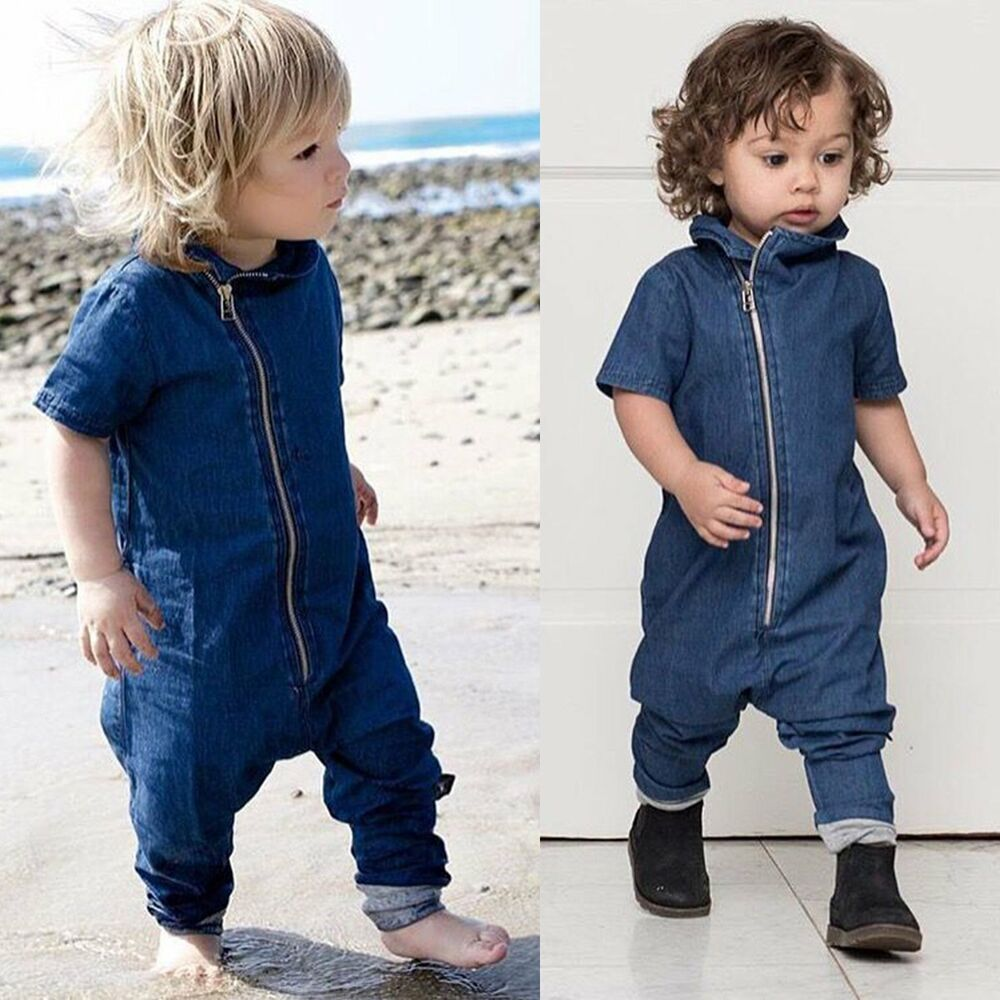 Cool Baby Boy Clothes Newborn Kids Romper Denim Zipper ...
