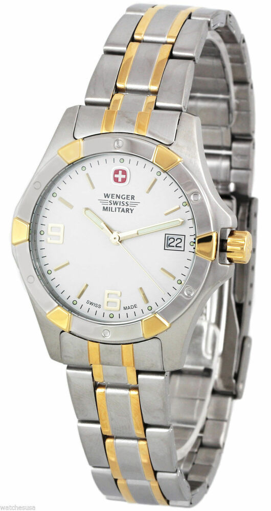 Wenger Swiss Military Womens White Dial Two Tone Stainless ...
