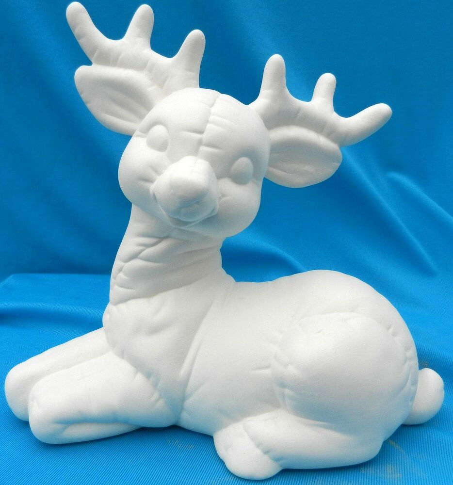 Large Softie Laying Reindeer 10 Ceramic Bisque Christmas