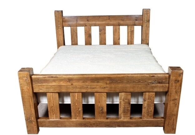 Rustic chunky wooden double bed frame made to order ebay Rustic bed frames