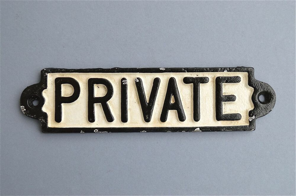 Cast Iron Private Door Wall Sign Plaque Toilet Sign