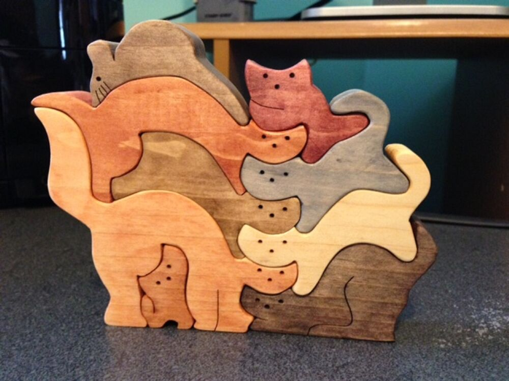 Wood stacked cats puzzle handmade 9 pieces stained in various colors ebay - Matching wood pieces of different colors ...