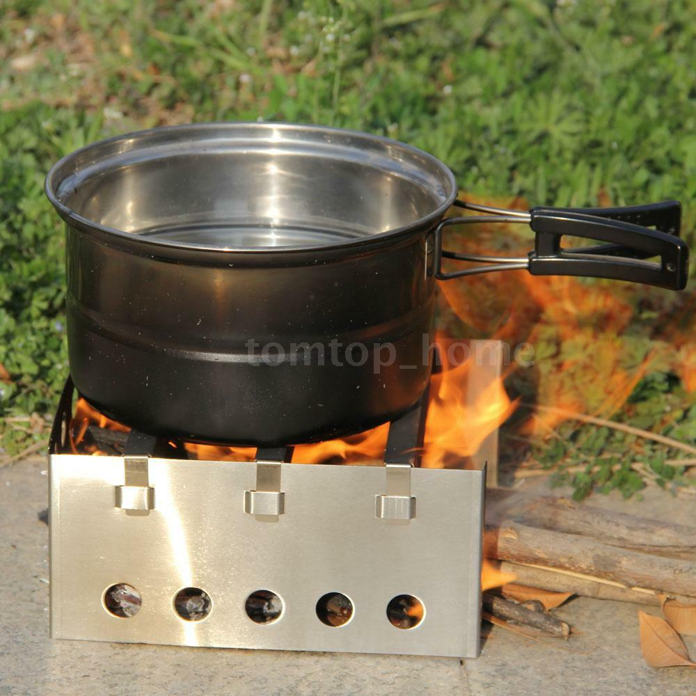 Outdoor stainless steel wood stove cooking picnic camp for Outdoor wood cooking stove