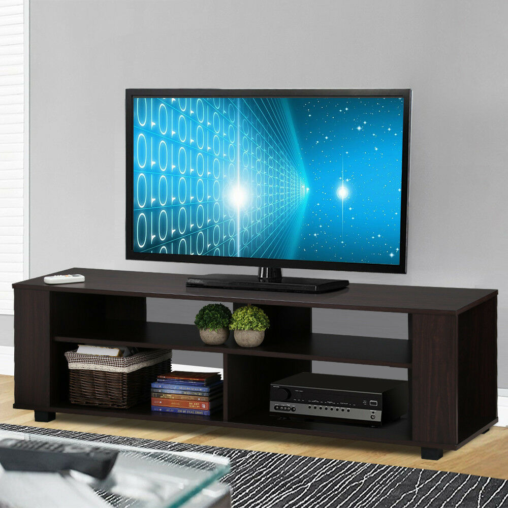 black modern 60 inch tv stand and media cabinet furniture entertainment center ebay. Black Bedroom Furniture Sets. Home Design Ideas