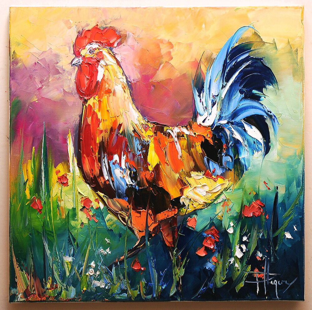 le coq art tableau peinture huile sur toile oil painting pfleger mandrafina ebay. Black Bedroom Furniture Sets. Home Design Ideas